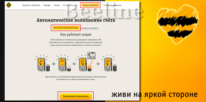 Билайн: оплата банковской картой через интернет, платеж